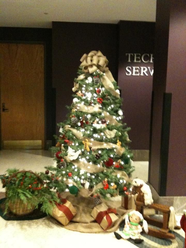 This photo was created by the amazingly talented staff of Tech Services. The ornaments are homemade! Beautiful!