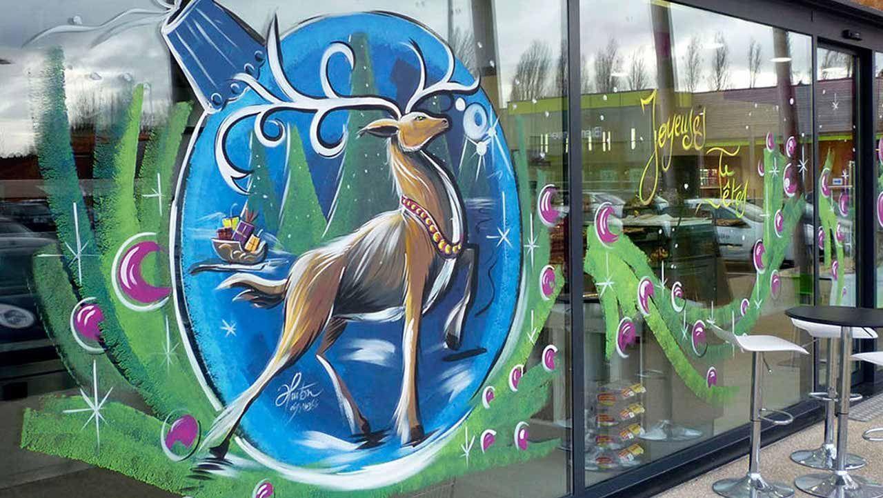 Noël #decovitrinenoel Déco vitrine en peinture à main levée de Noël | Peinture - Part 2013 #decovitrinenoel
