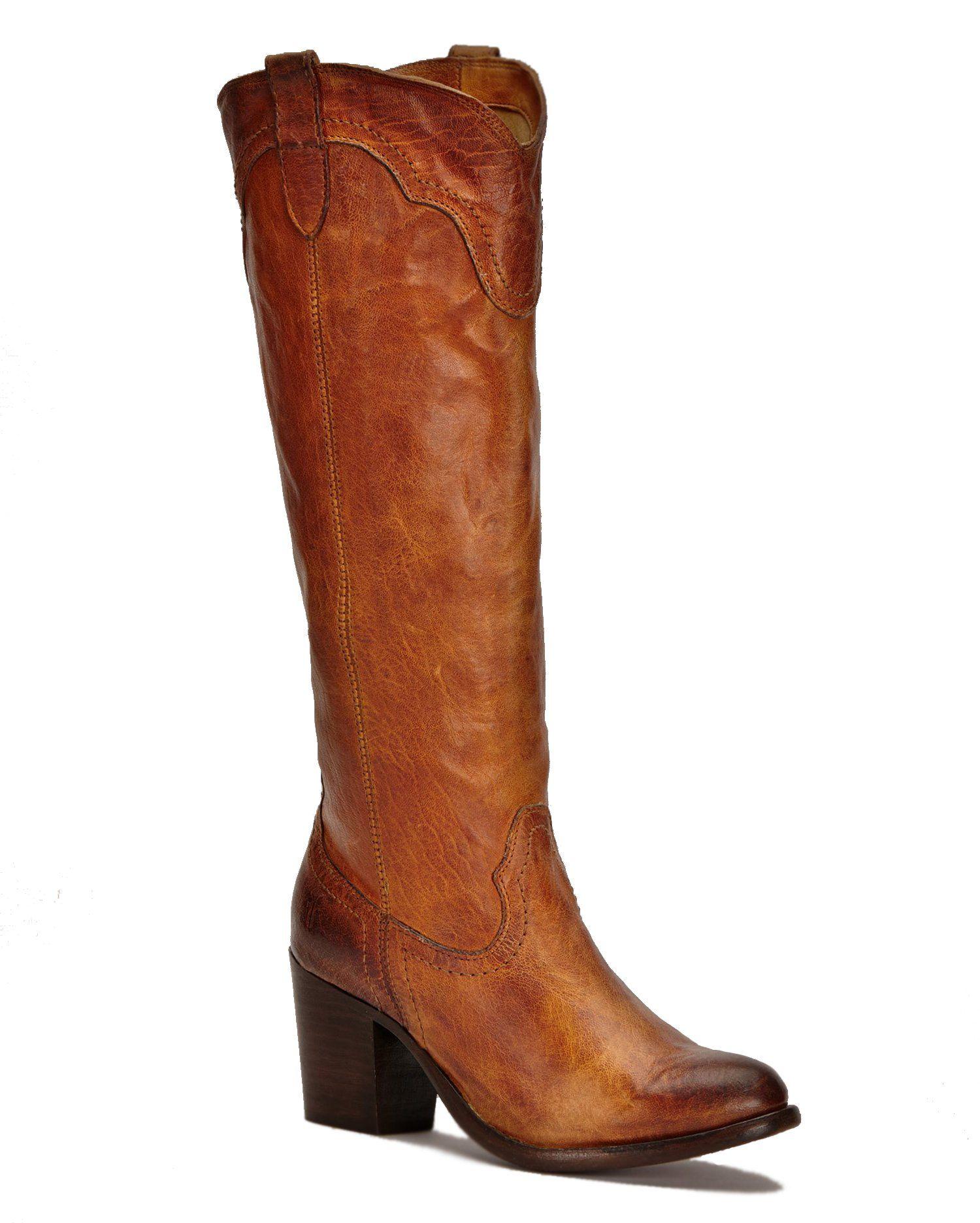 FRYE Women's Tabitha Pull-On Tall Western Boot,Cognac,6.5 M US
