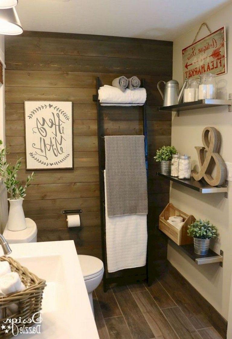 65 Beautiful Bathroom Storage Shelves Organization Ideas Farmhouse Bathroom Decor Rustic Bathrooms Bathroom Farmhouse Style