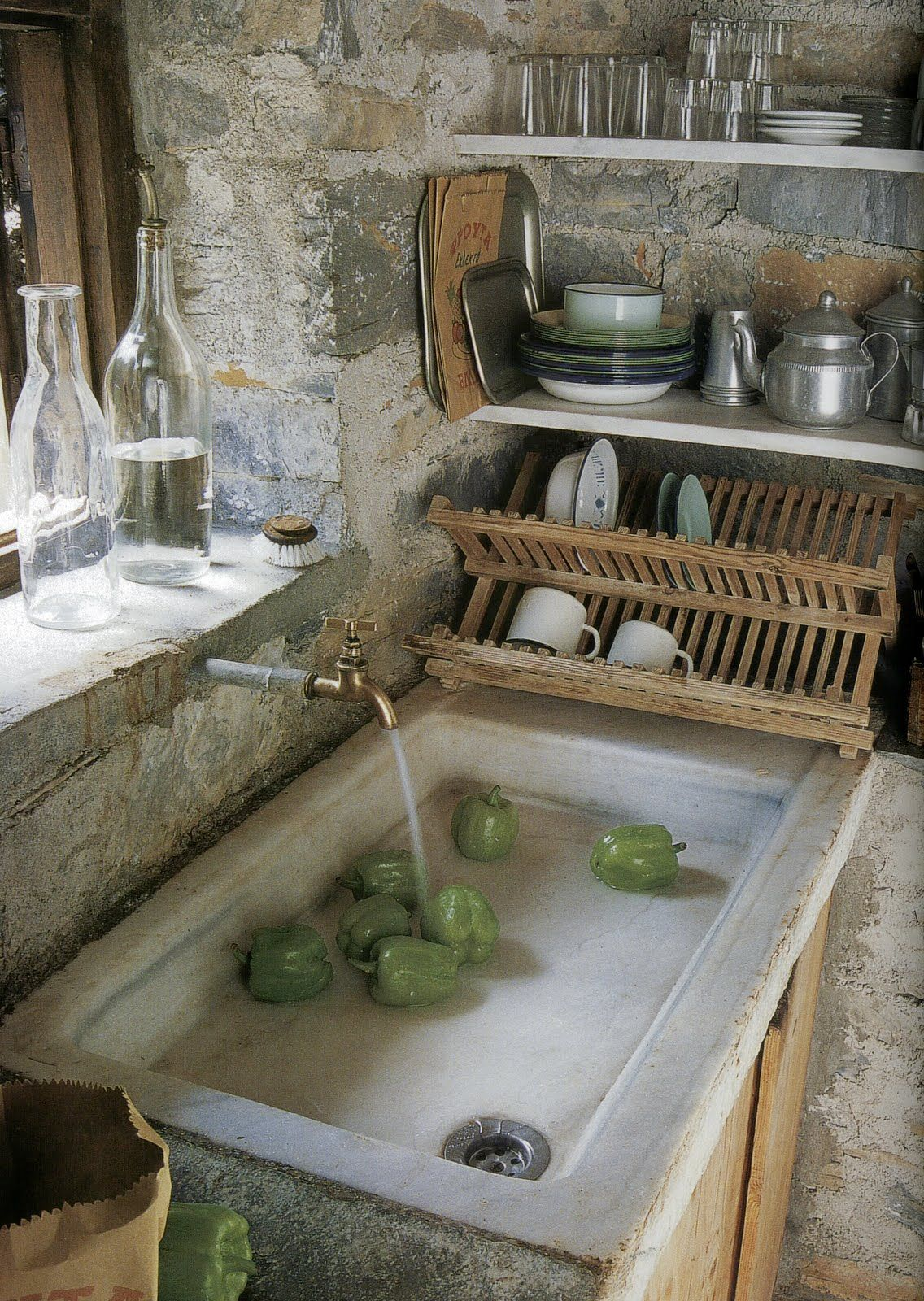 Window above kitchen sink  provencal sink  charming sinks  pinterest  sinks kitchens and nice