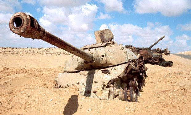 Wrecks Of Egyptian Is 3m And Probably Israeli Magach At The Background Abandoned After Six Day War On Sinai