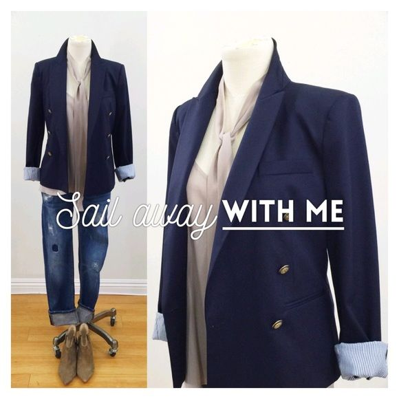 •ZARA• navy blazer w/striped lining & gold buttons Great classic navy blue blazer, double breasted with gold buttons (2 replacement buttons included).  Has a slight nautical feel.  Roll up the sleeves to expose the cute blue striped lining.  2 welt pockets on the front and a secret hidden pocket on the inside of the jacket.  Slight shoulder pads to keep its beautiful form.  Has a small blemish on the right sleeve, see photo.  98% wool, 2% elastase.  Dry clean only. Zara Jackets & Coats…