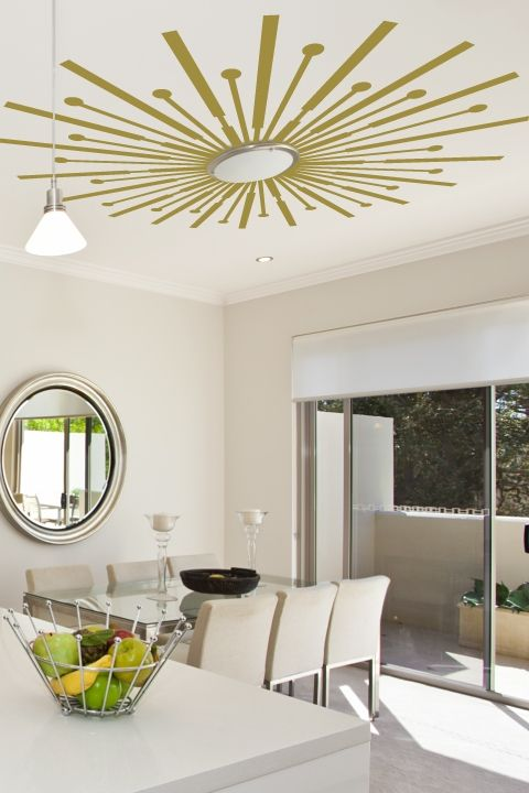 Sunburst Ceiling Art Decals make an excellent lighting accent, shop WALLTAT.com Art Without Boundaries