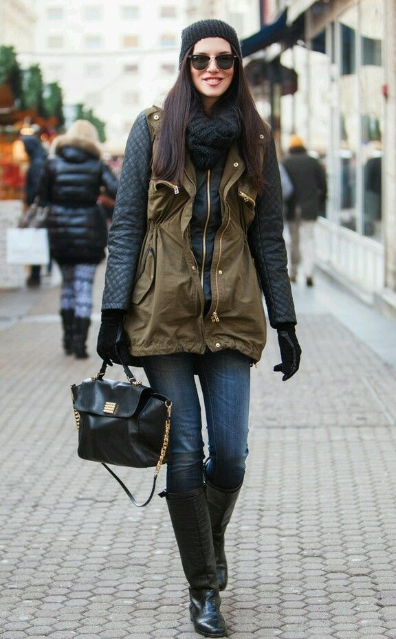 H&m khaki green parka jacket coat with black faux leather sleeves ...
