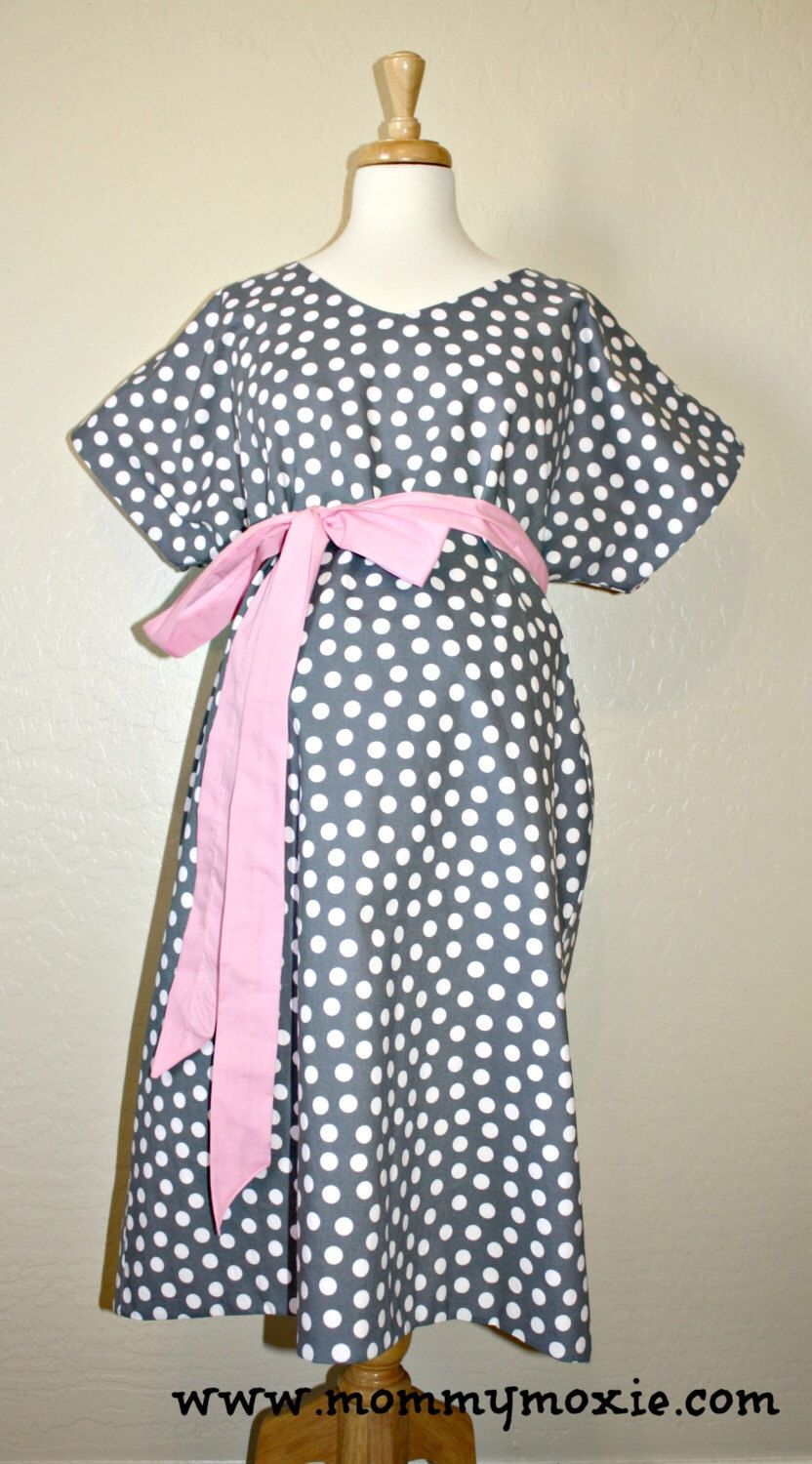 LINED MaddenMiller Maternity Hospital Gown - Grey Polka Dots - Lined ...