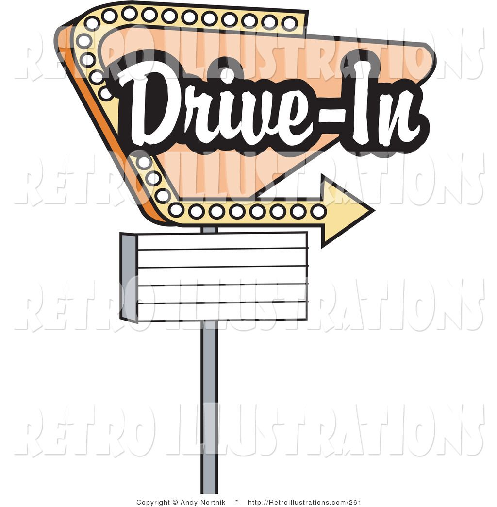 Retro Illustration Of A Vintage Tan Drive In Sign With An Arrow Underneath