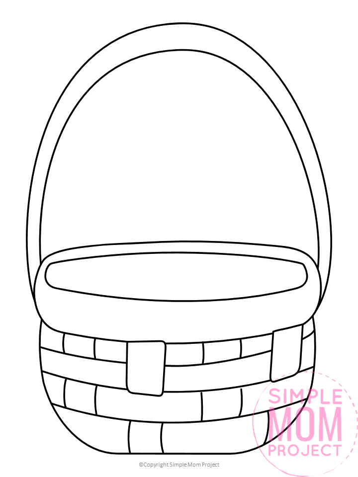 Free Printable Basket Template For Picnics And Fruit Simple Mom Project In 2020 Easter Basket Template Easter Basket Crafts Easter Basket Printable