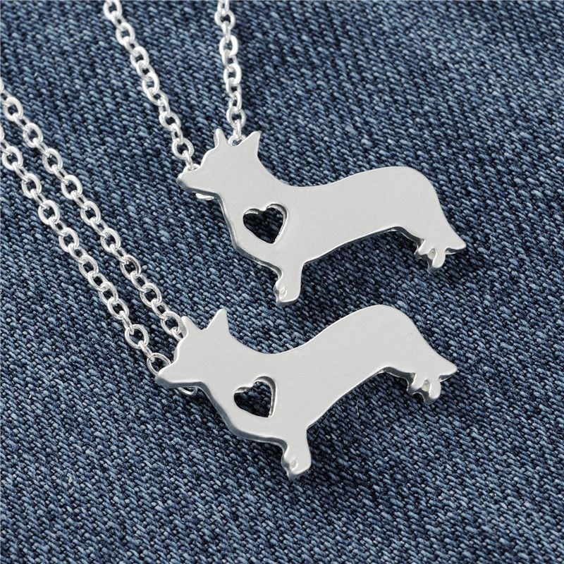 Welsh Corgi Necklace Matte Silver Dog Collier Femme Pets Puppy Girl Gift Jewelry Collar 10pcs