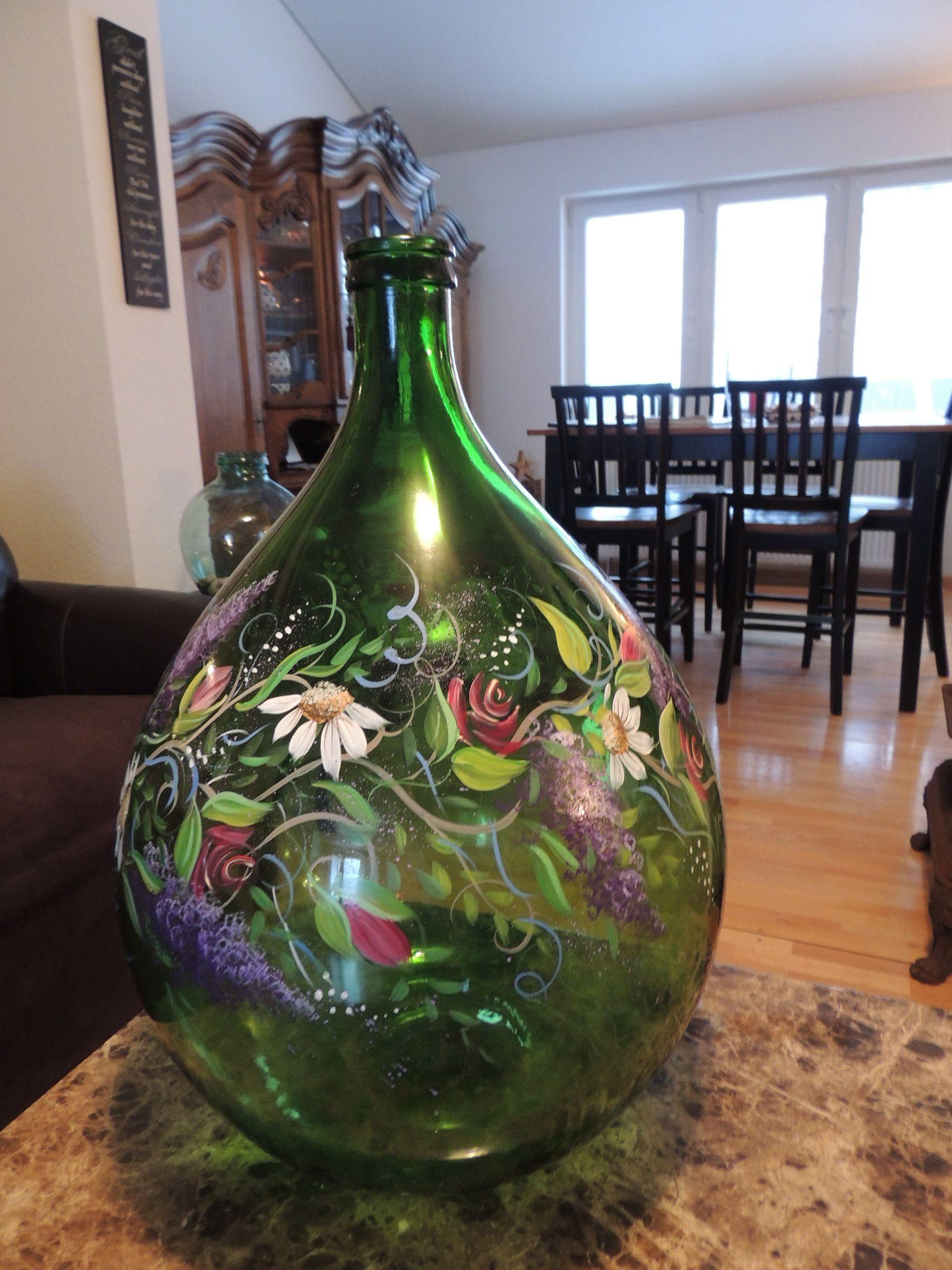 Hand Painted Demijohn Bottle Estelle Grengs Demijohns