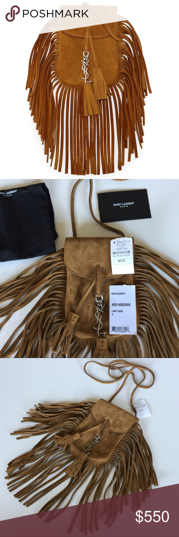 6ea3ad68d640 NEW YSL ANITA MINI FLAT CROSS-BODY BAG WITH FRINGE Authentic. Made in Italy