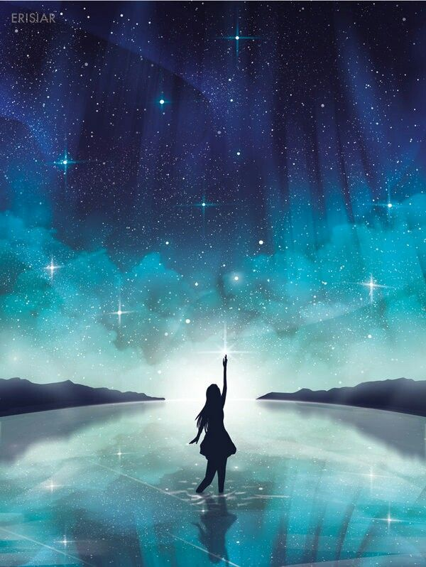 Tumblr Starry Sky And Silhouette Paysage Manga Paysage Fantastique Image Artistique