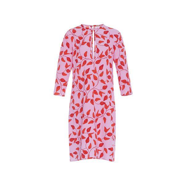 Johanna Ortiz Libertad Keyhole Sheath Dress (14.635 ARS) ❤ liked on Polyvore featuring dresses, pink shift dress, pink dress, pink sheath dress, jewel neckline dress and key hole dress