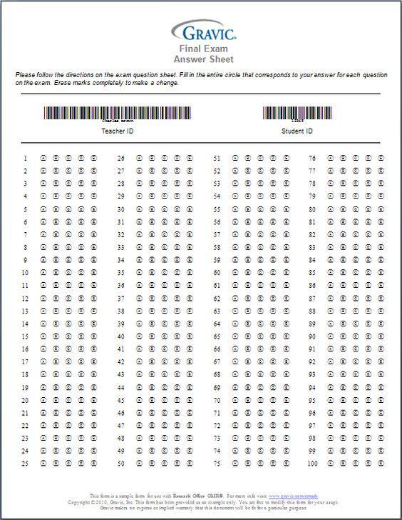 Printable 100 Question Answer Sheet | printable bubble ...