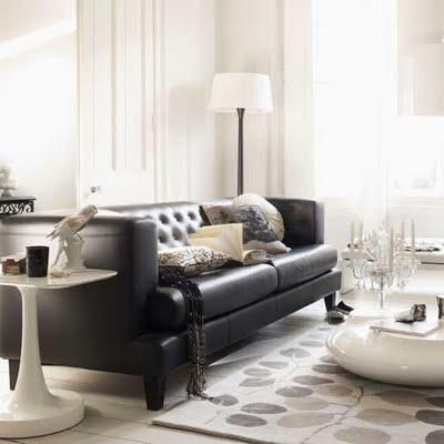 Living Room Decor With Black Leather Sofa living etc - black leather tufted sofa, floral neutral rug and
