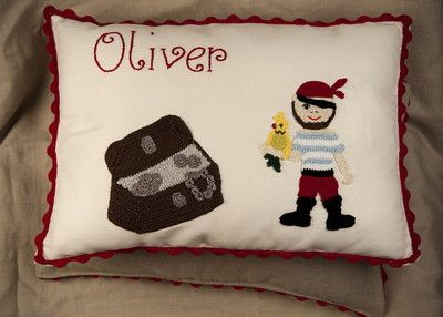 Personalised Pirate crochet cushion