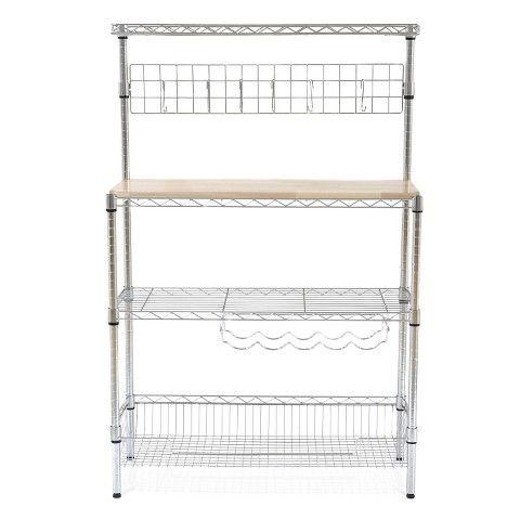 Re Chrome Baker S Rack With Wood Block Top Wood Blocks Room Essentials Bakers Rack