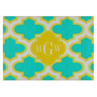 Brt Aqua Yellow Wht Quatrefoil 3 Initial Monogram Cutting Boards