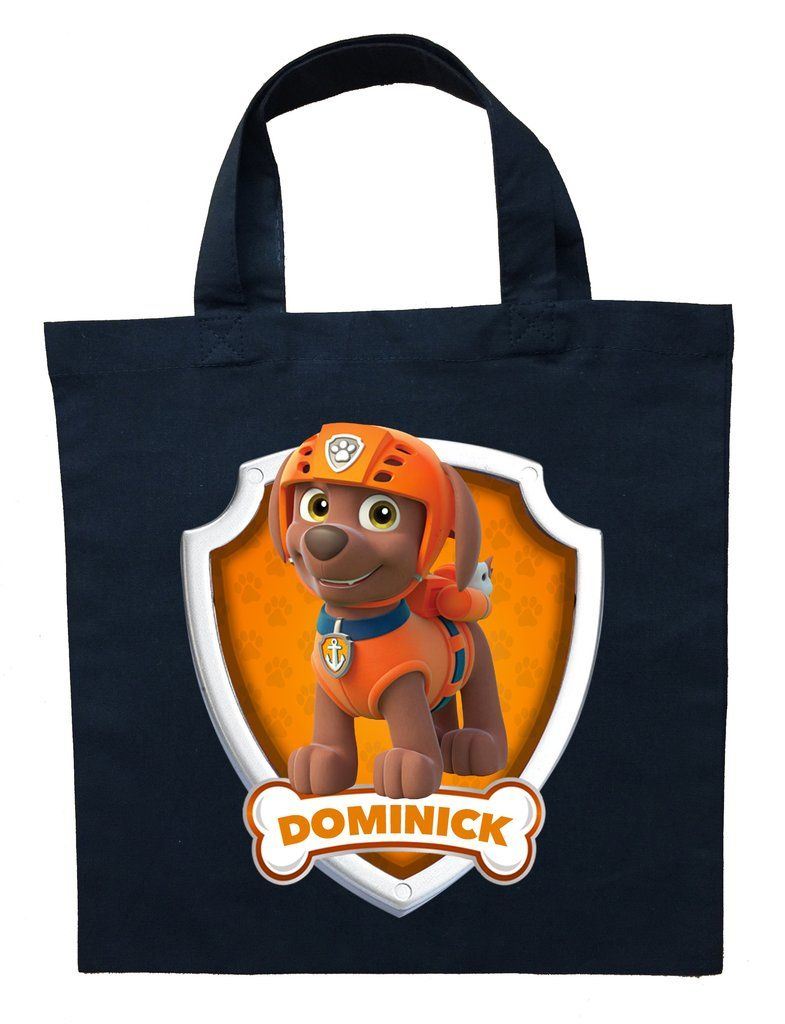 Paw Patrol Zuma Trick or Treat Bag  Personalized Paw Patrol Zuma Halloween Bag - Halloween bags, Zuma paw patrol, Personalize bag, Treat bags, Paw patrol, Trick or treat bags - Accessorize your child's Paw Patrol Zuma costume by purchasing a personalized trick or treat bag  These bags are double sided  The front side will provide your child's name inside the dog bone with an image of Zuma in his badge  The back side has  Let's Dive In  text within his badge  These bags come in 2 sizes  The smaller size is 8  x 9  which is a good size for toddlers under 3 years old who will be trick or treating  The larger size, good for all ages, is 13  x 13   (These measurements do not include the straps  It's just the rectangular area that the art is placed on  The straps on the small bags are 12  long and 14  long on the larger bags)  These bags are 100% cotton and will last through many years of wear and tear  ORDERING INSTRUCTIONS Personalization During checkout there is a  Personalization Information  field  That is where you can leave me a name for the customized bag  Size Please select your preferred bag size from the drop down menu above  OUR PROCESS At Label My Baby we design the personalized art and then print it onto transfer paper  We then heat press the art onto the bags and apply any embellishments that the listing art displays  SHIPPING Once an order is placed please allow 4872 hours for production  We ship all orders via USPS  You can choose from either first class mail (25 business days) or priority mail (13 business days)  Both provide tracking details  Label My Baby wishes you a Happy Halloween! Copyright All copyrights and trademarks of the character images used belong to their respective owners and copyright remains with them  This item is NOT a licensed product and we do not claim ownership over the characters used in our designs