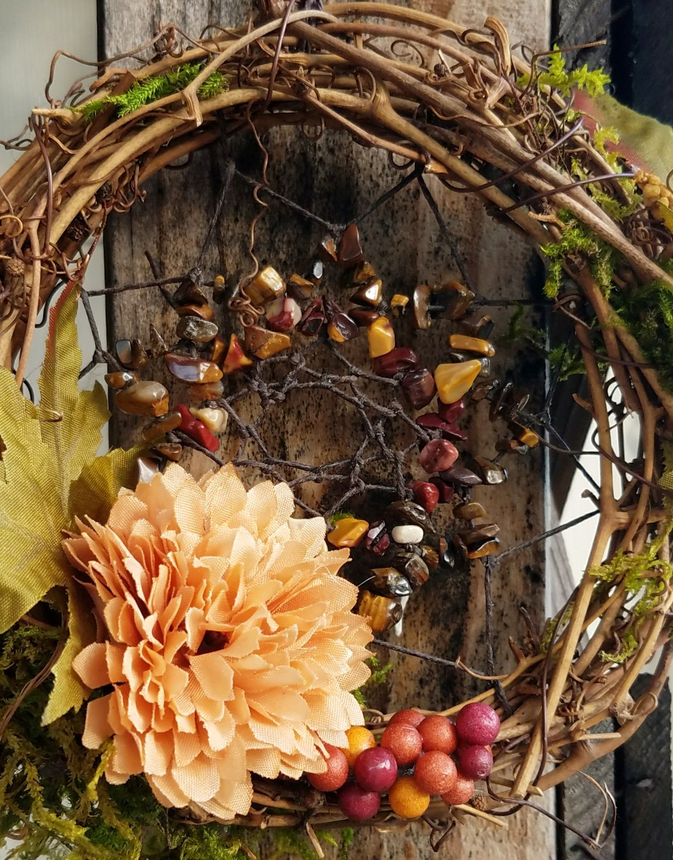 Fall Dream Catcher Crystals Flowers Moss Wall