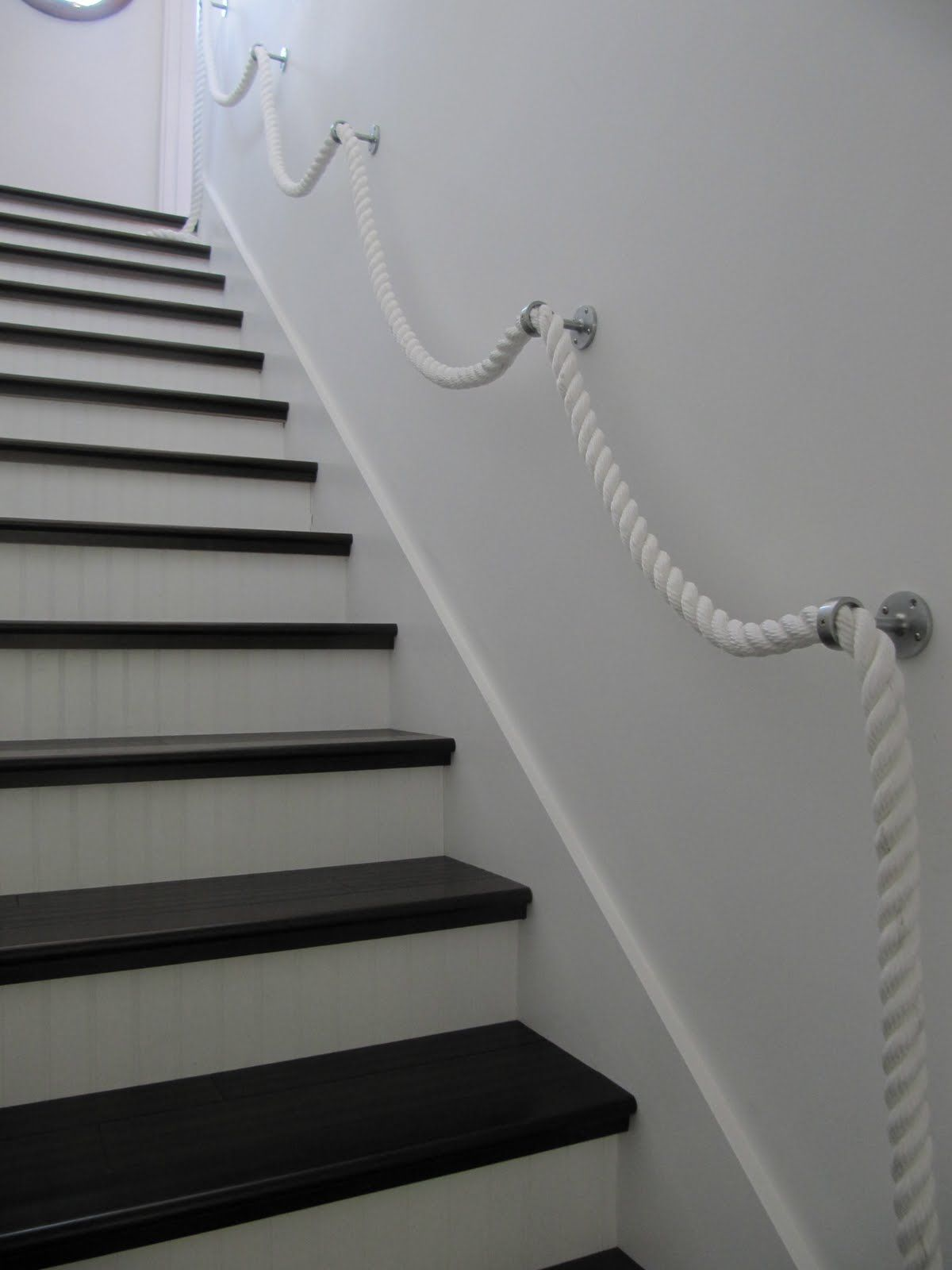 Stair Rope Banister | lbpllc | Pinterest | Stairs, Banisters and Home