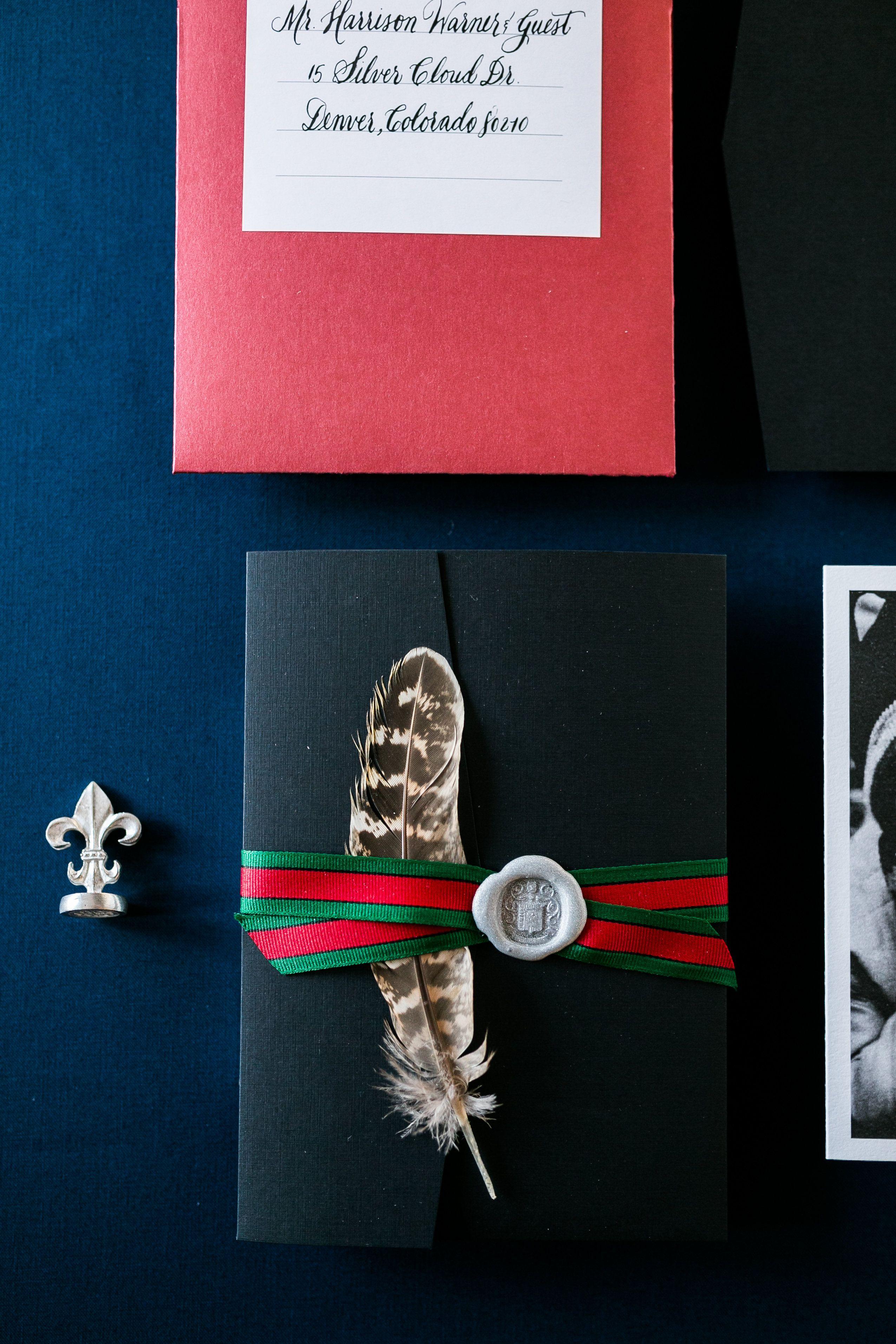50th Birthday Pocket Invitation with Gucci Ribbon + Silver Wax Seal ...