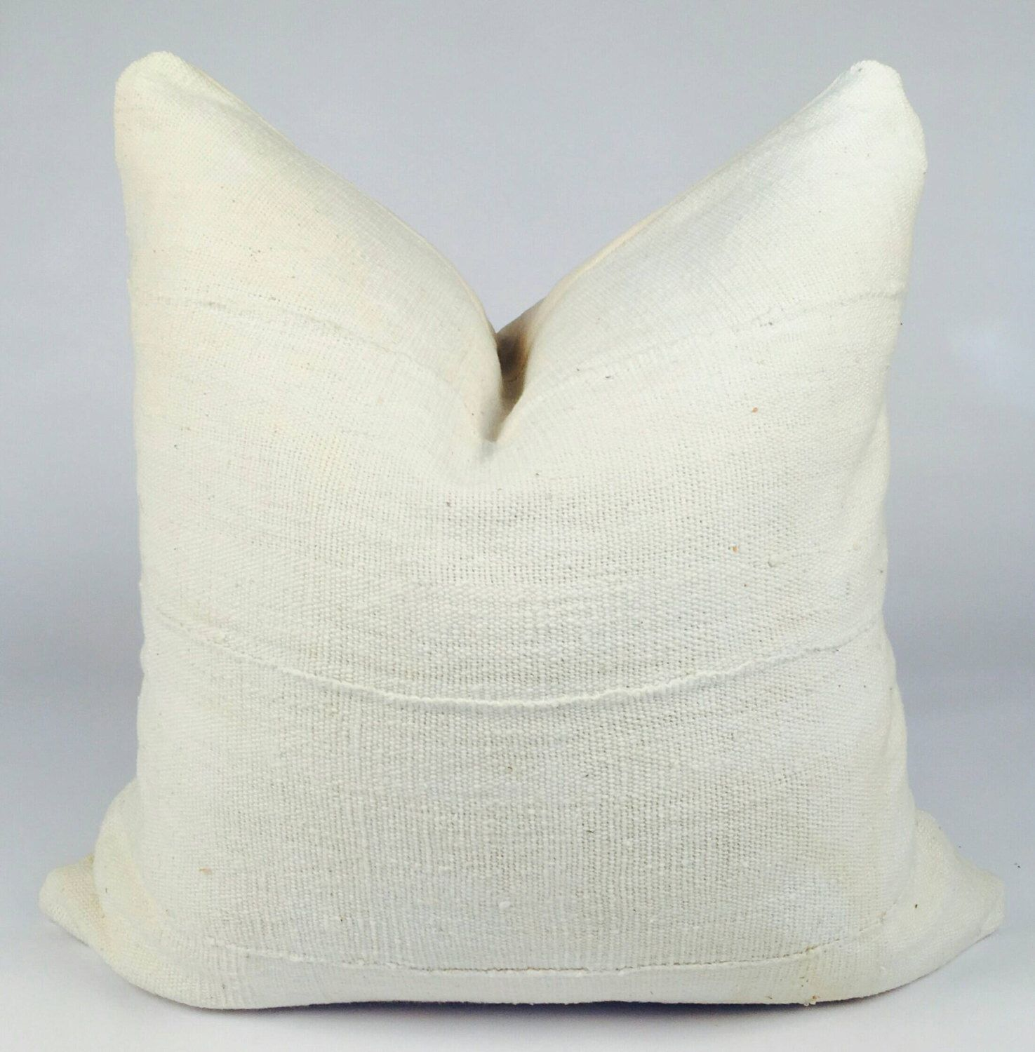 CUSTOM SIZES Solid White Mudcloth Pillow