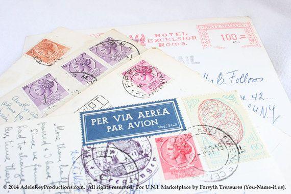 #VINTAGE #Italy #Postcards with 1950s #PosteItaliane #Stamps, #MythologyandMythical via @etsy , $17.50