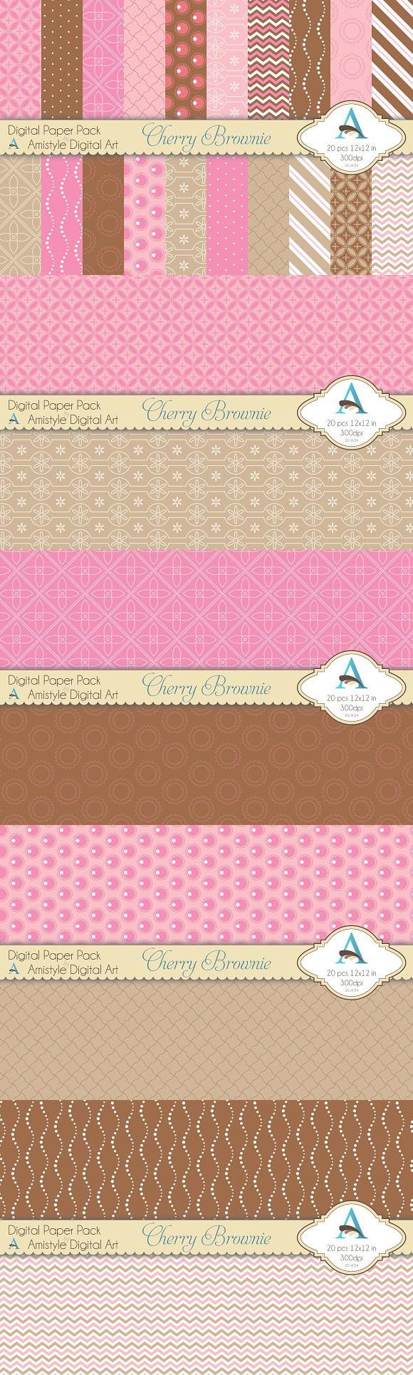 Cherry Brownie Digital Paper Set. Patterns. $5.00