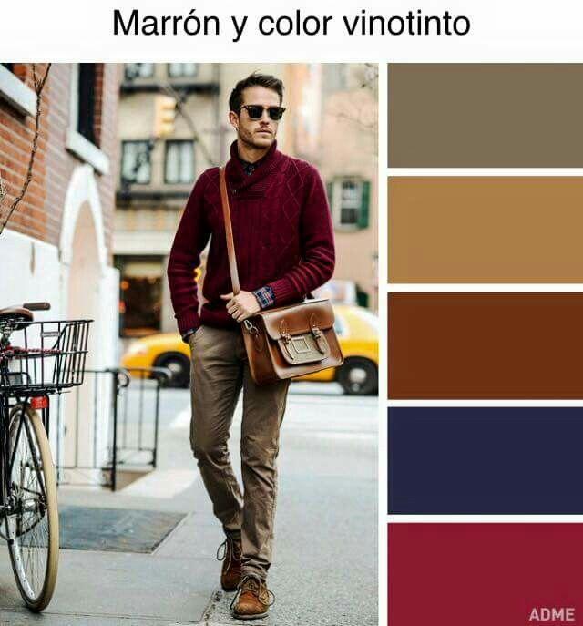 Marrón y color vino tinto   Tejidos para ellos   Combinar