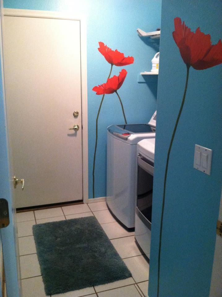 paint and poppies added to my laundry room laundry room on laundry room wall covering ideas id=13938