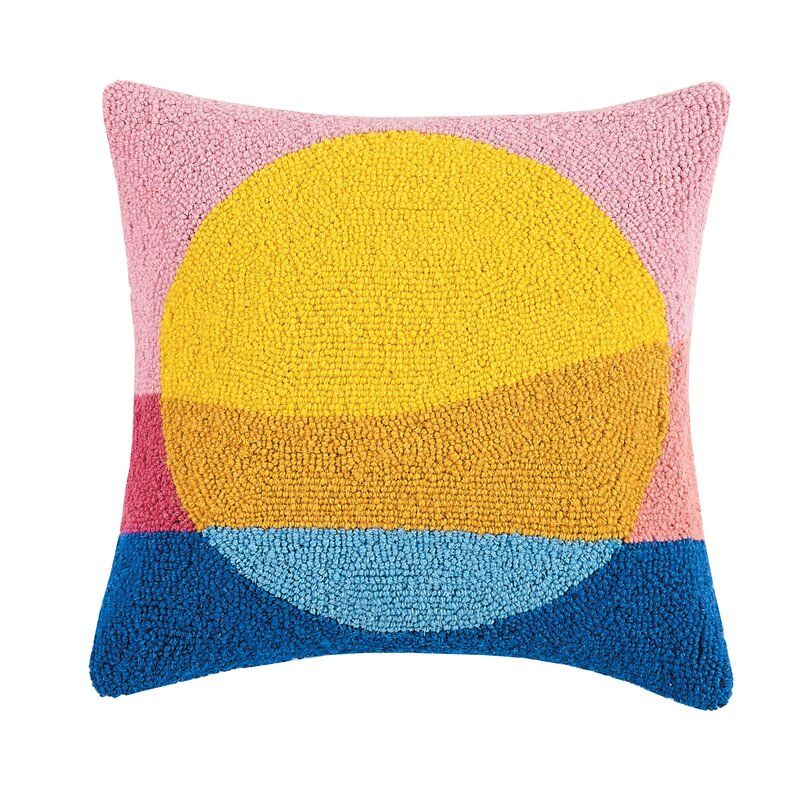Sunset Wool Throw Pillow Hooked Pillow Pillows Wool Throw Pillows