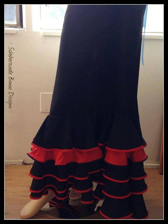 Mermaid cut ruffled flamenco dance skirt by ScheherazadeBanoo on Etsy, $155.00