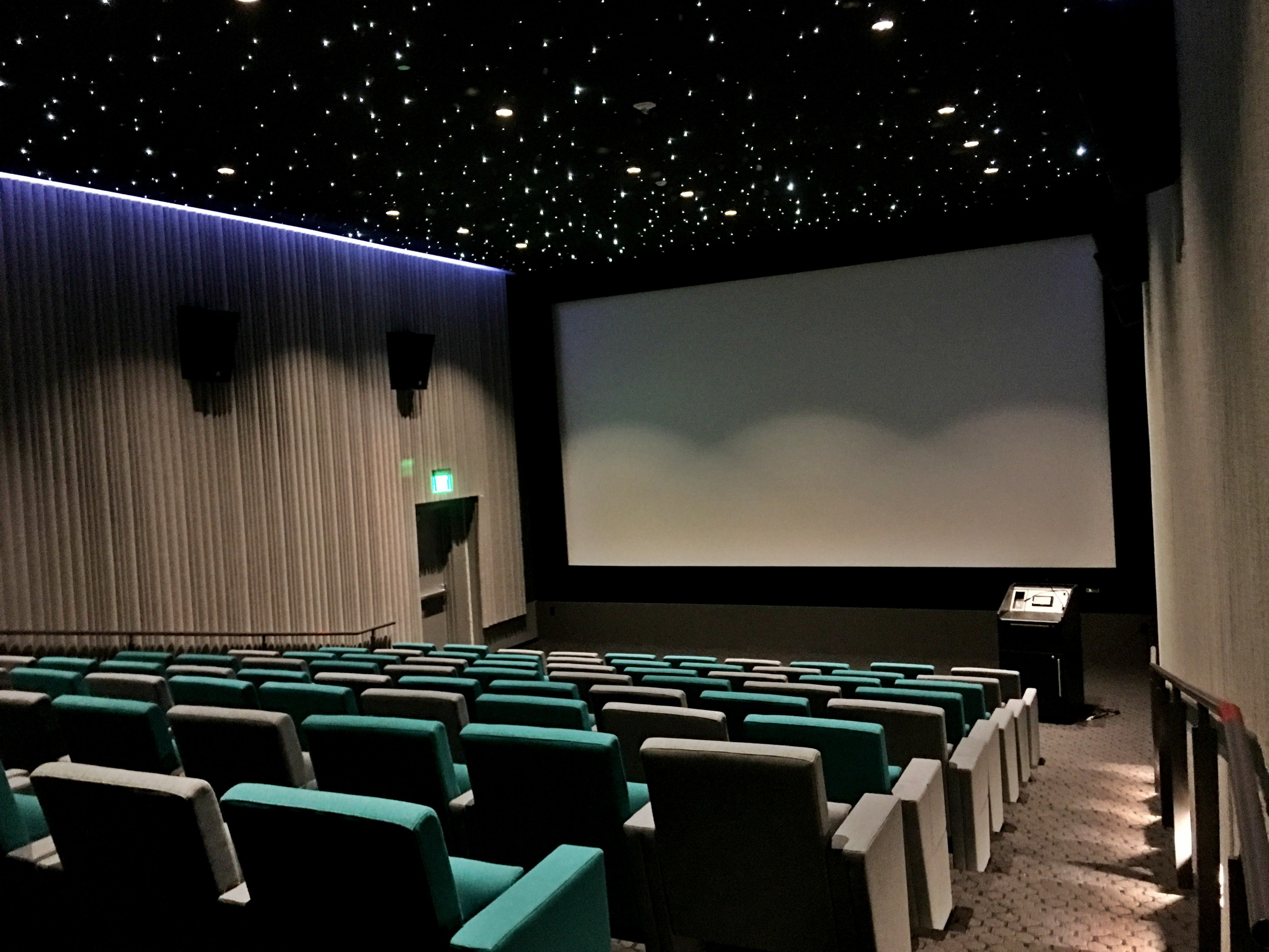 FabriTRAK® Acoustical Fiber Optic Stretch Ceiling System Installed In The  88 Seat Screening Room