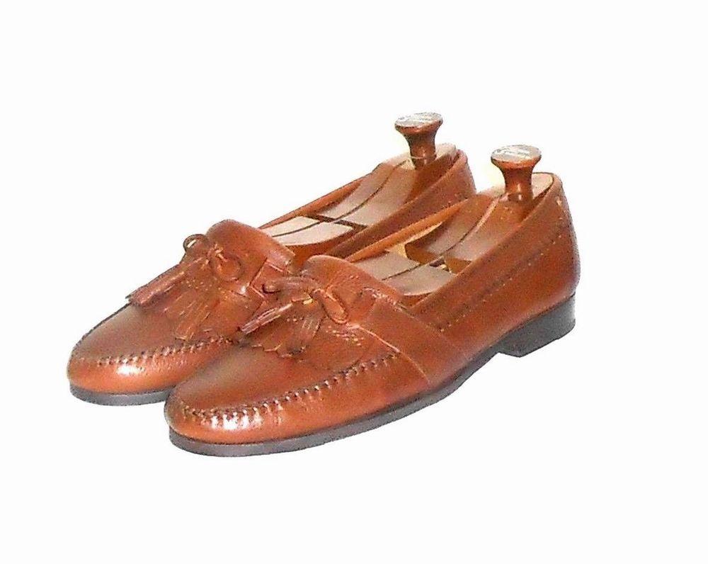 Hunt Club Men's Brown Leather Kiltie Tassel Loafer Slip On Shoe Size 11 M #HuntClub #KiltieTasselLoaferSlipOn