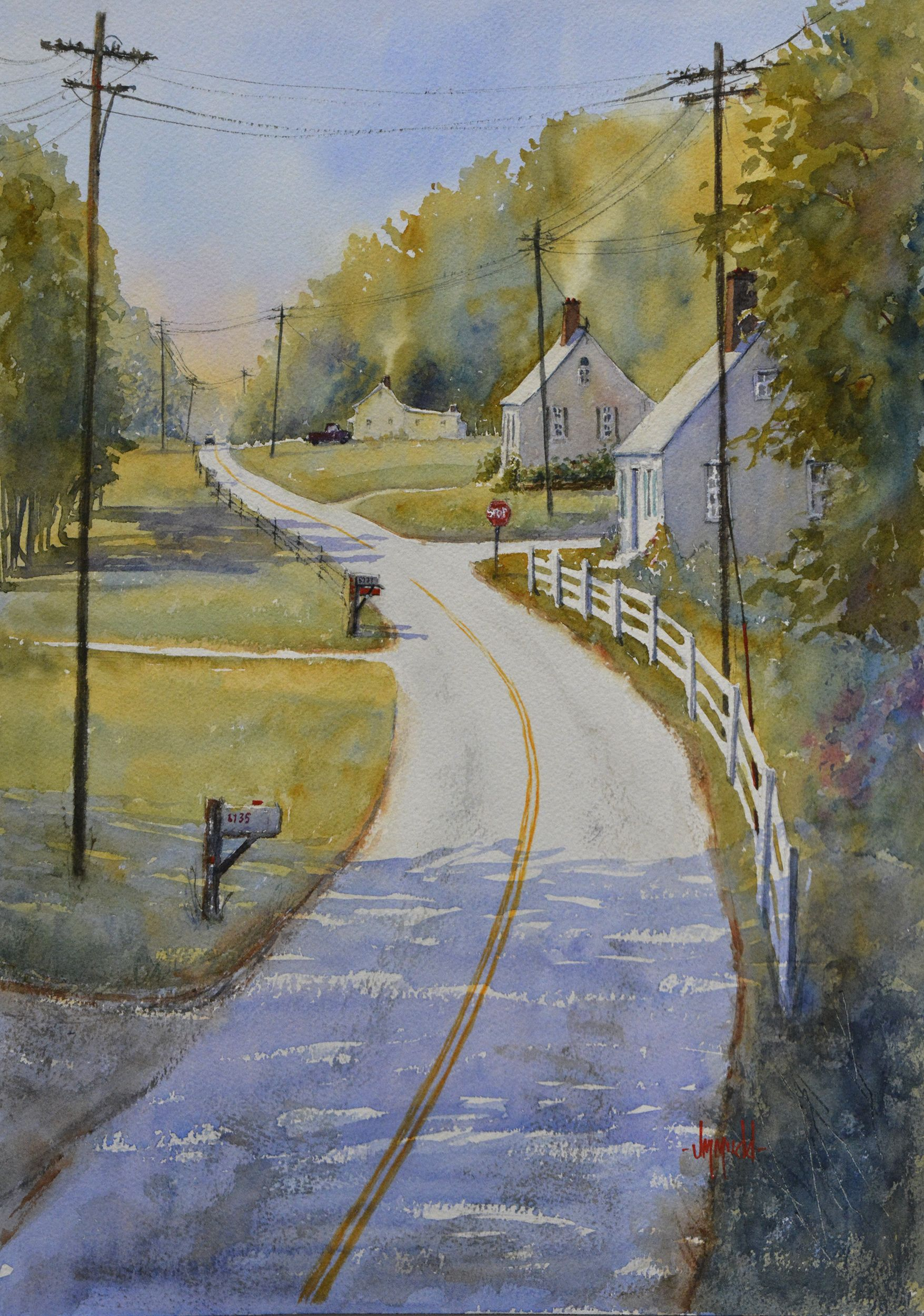 Connecticut watercolor artists directory - Love This Watercolor Painting From Ugallery Country Road Take Me Home By Judy Mudd