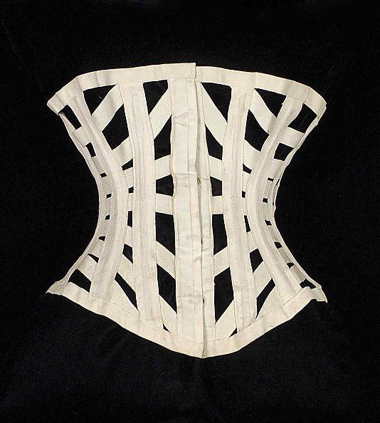 Corset Royal Worcester Corset Company (American, 1864–1950) Date: ca. 1872 Culture: American Medium: Cotton, metal, bone Metropolitan Museum of Art Accession Number: 2009.300.6638a, b