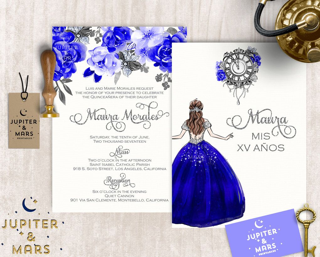 Royal Blue And Gold Wedding Invitations: Pin By Montrose Designs On Quinceañera / Sweet 16