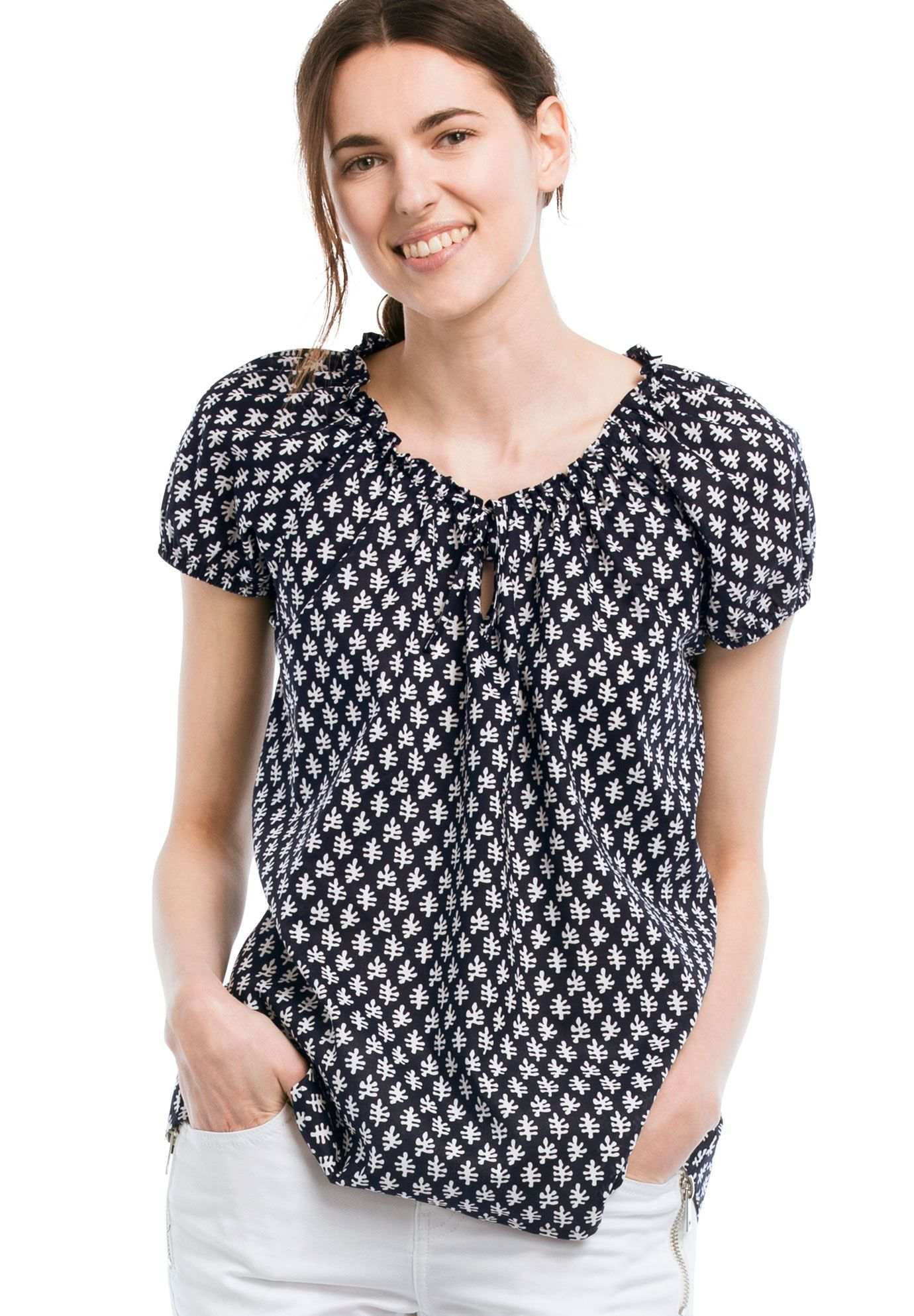 e31c55e3e8b Ellos reg  Keyhole Neckline Peasant Blouse - Women s Plus Size Clothing