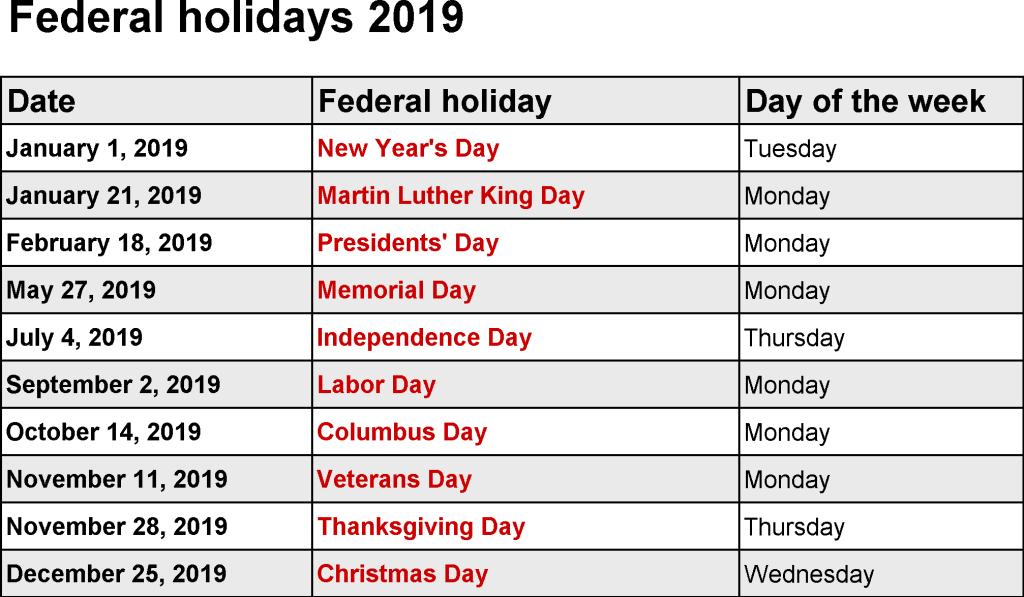 january holidays 2019