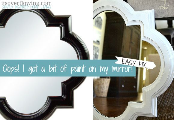How to get oversprayed paint off of a mirror! Aimee via It's