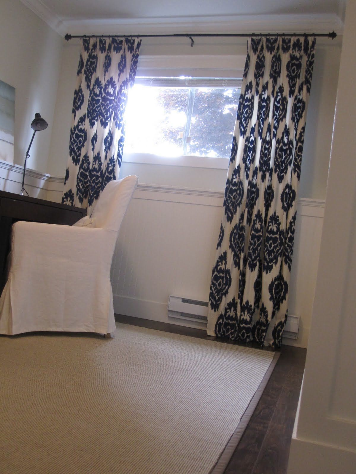 small window big curtains   Basement window curtains, Small window ...