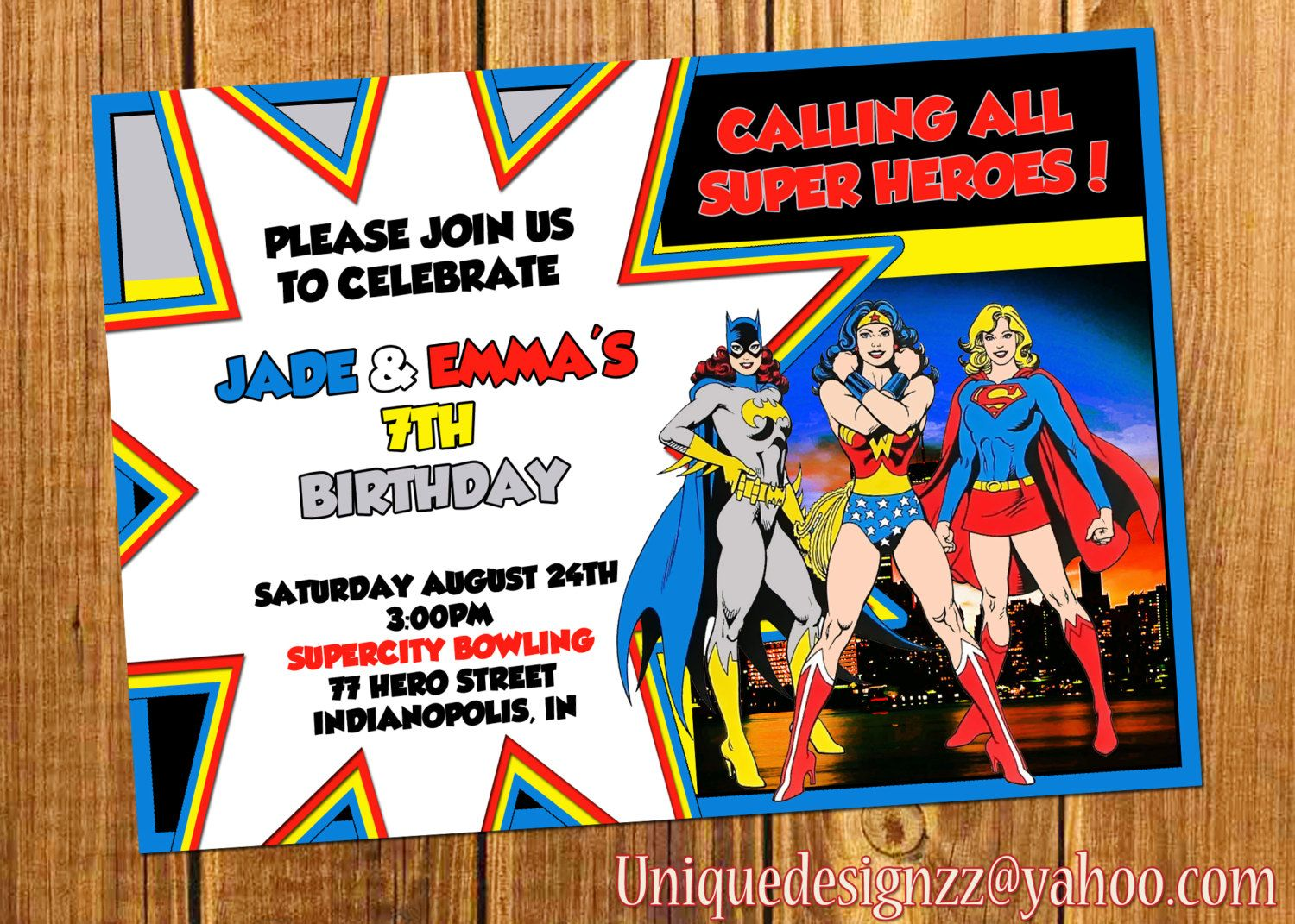 Wonder Woman Supergirl and Batgirl Birthday Invitation by
