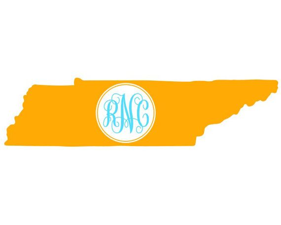 Tennessee Script Monogram Vinyl Decal | Etsy | Car decals