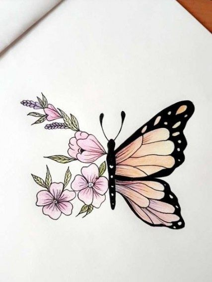 35+ Ideas For Tattoo Butterfly Sketch Pencil Drawings | Trend