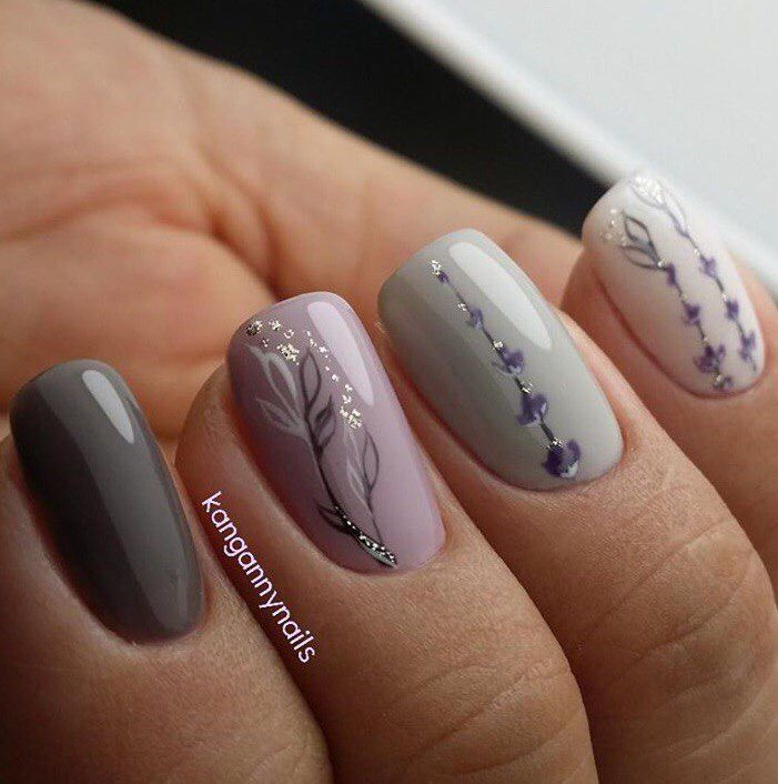 Lavender Grey Nails With Images Trendy Nails Floral Nails