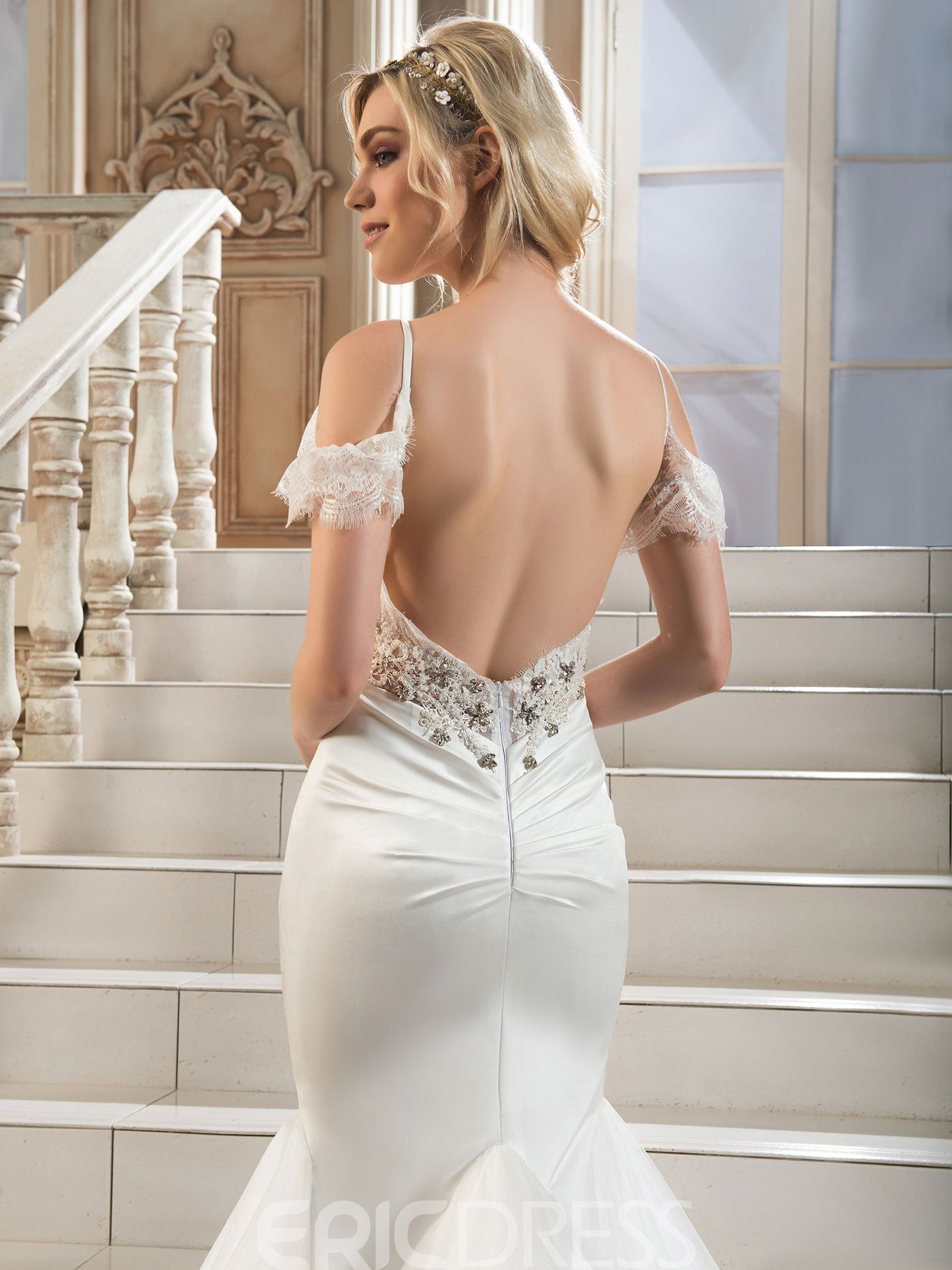 Ericdress Beautiful Spaghetti Straps Beaded Mermaid Wedding Dress 12201791 - EricDress.com