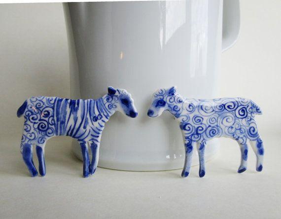 Lamb  Handpainted Blue Delft porcelain by Harrietsblueandwhite