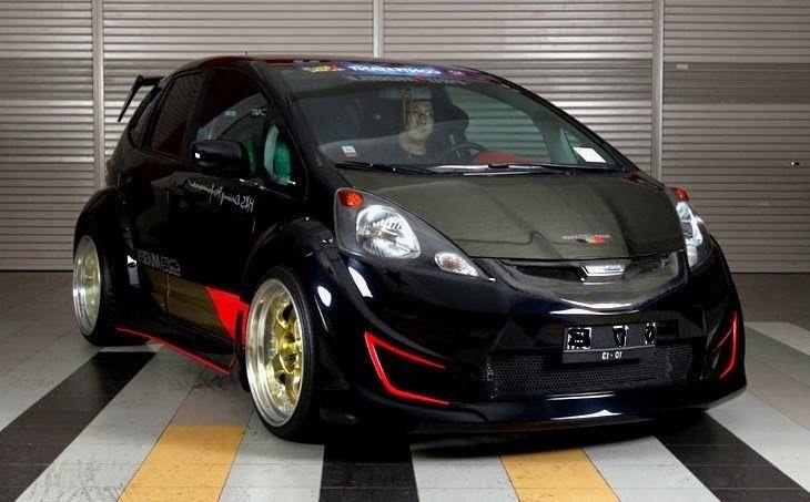 Best Modified Car Racing Custom Black Honda Fit Body Kit