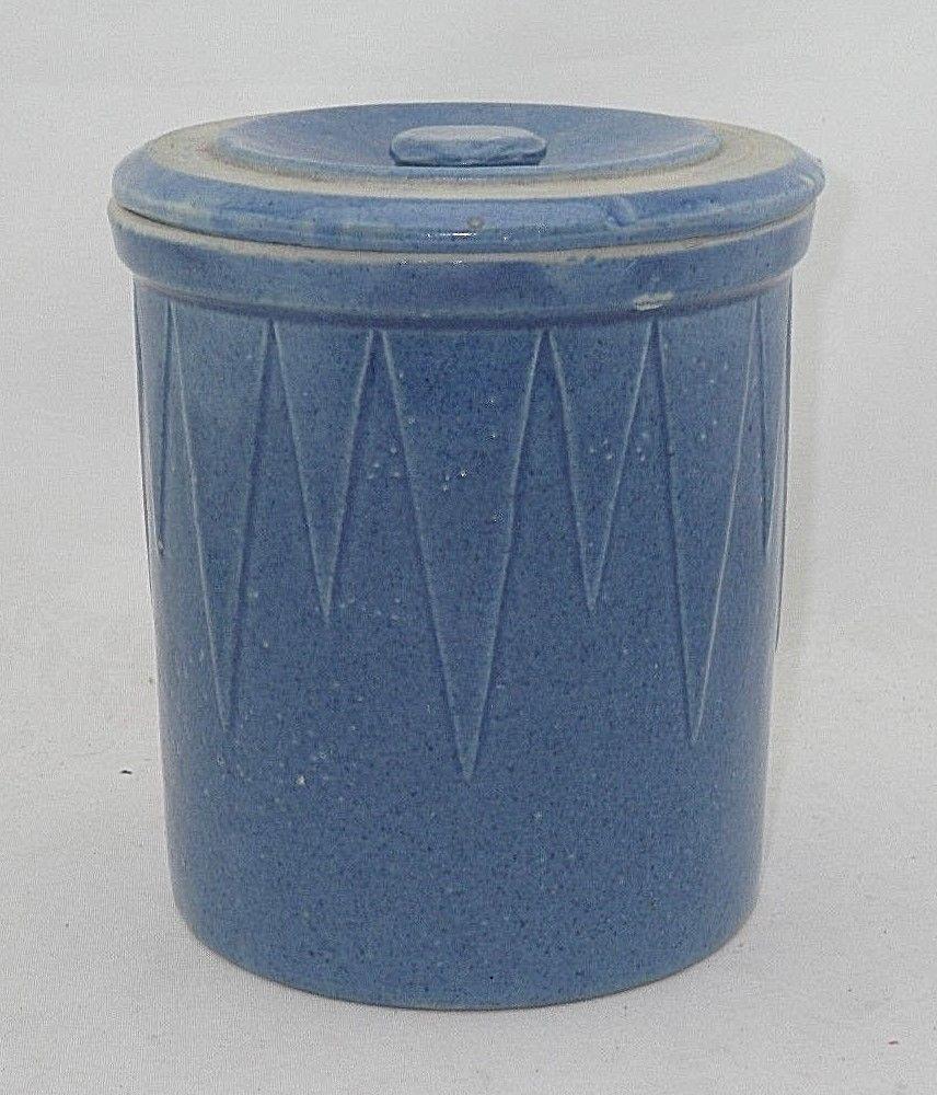 White Hall Stoneware Illinois Ruckel\'s Pottery Blue Sawtooth ...